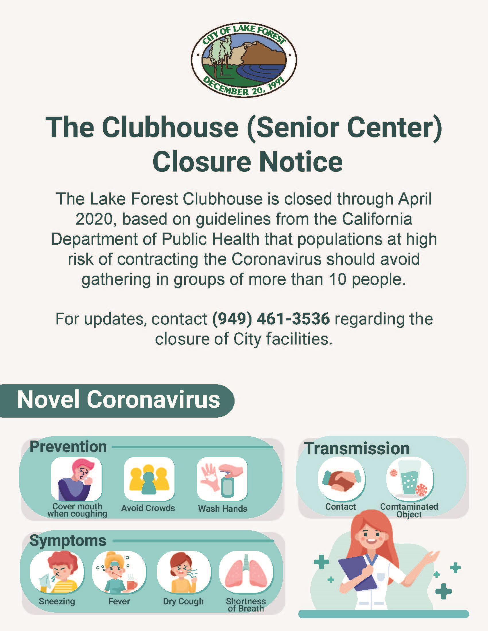Clubhouse Closure Notice