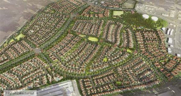 Computer-generated arial view of the Baker Ranch neighborhood project