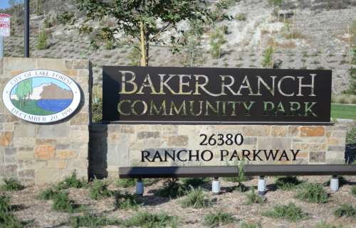 Entrance sign to Baker Ranch Community Park